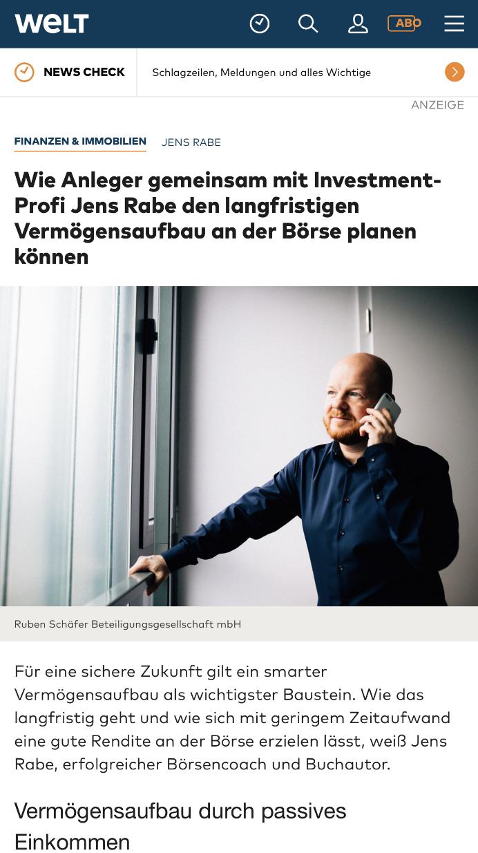 Jens Rabe Presse Artikel Welt